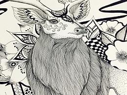 针管笔《鹿》