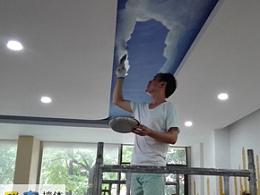 南京墙绘新疆餐厅吊顶蓝天白云手绘壁画 天棚彩绘