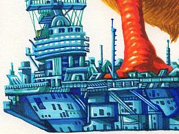 《占领航母的鹅》马克笔手绘
