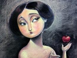 夏娃-色粉笔画