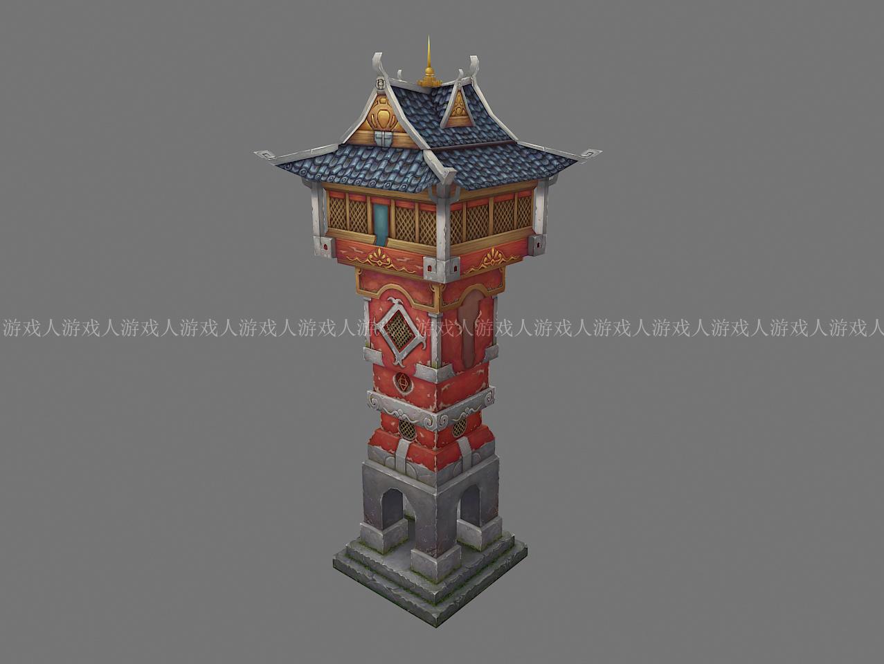 3d游戏——场景建模及手绘贴图(中式古建筑)