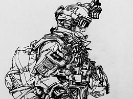 军事漫画风速写