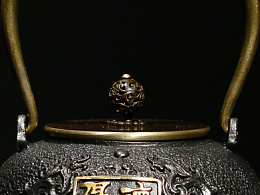 沐焱堂 厚德载物铁壶 铸铁 鎏金无涂层纯铁煮茶壶 养生茶壶出口