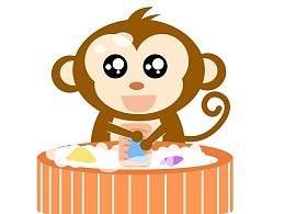 猴子洗衣服GIF动画