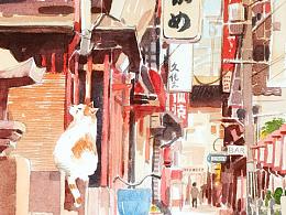 猫小街+水彩画过程