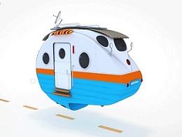 科幻卡通小房车