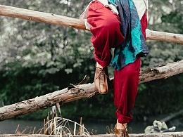 【向日葵记忆】原创手工绣花松紧腰系带复古棉麻阔腿裤秋装长裤休闲裤