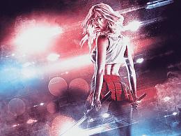 动感舞蹈人像添加绚丽光线特效PS动作