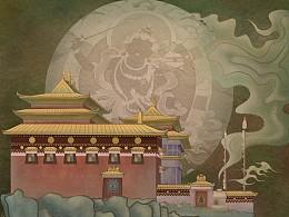 藏族寺庙 插画习作  古风插画
