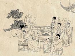 中秋节月饼盒包装插画