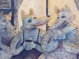 Panic dog-watercolour