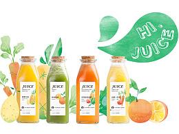 HI,JUICE鲜榨果汁 插画明信片