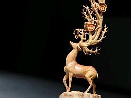 手工雕刻梅花鹿
