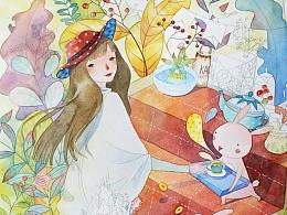 水彩手绘过程《来自森林的款待》