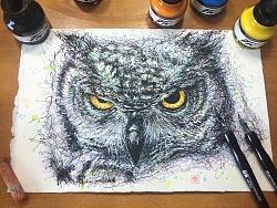蘸水笔尝试——猫头鹰