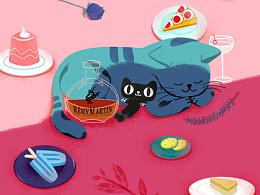 超级品牌日8月份品牌&猫公仔传播海报