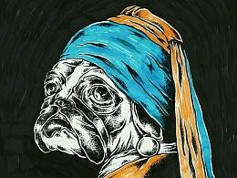 带珍珠耳环的肥狗