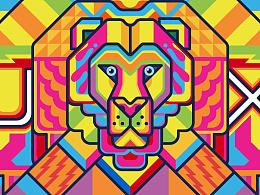 """""""UX设计狮""""公司用户体验部办公室手绘墙图案设计"""