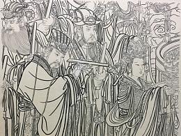 《永乐宫壁画局部》(临摹)