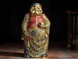铜师傅 全铜摆件《鎏金珐琅之财福双收》 家居工艺品装 客厅摆件