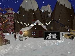 3D建模-新年下雪场景