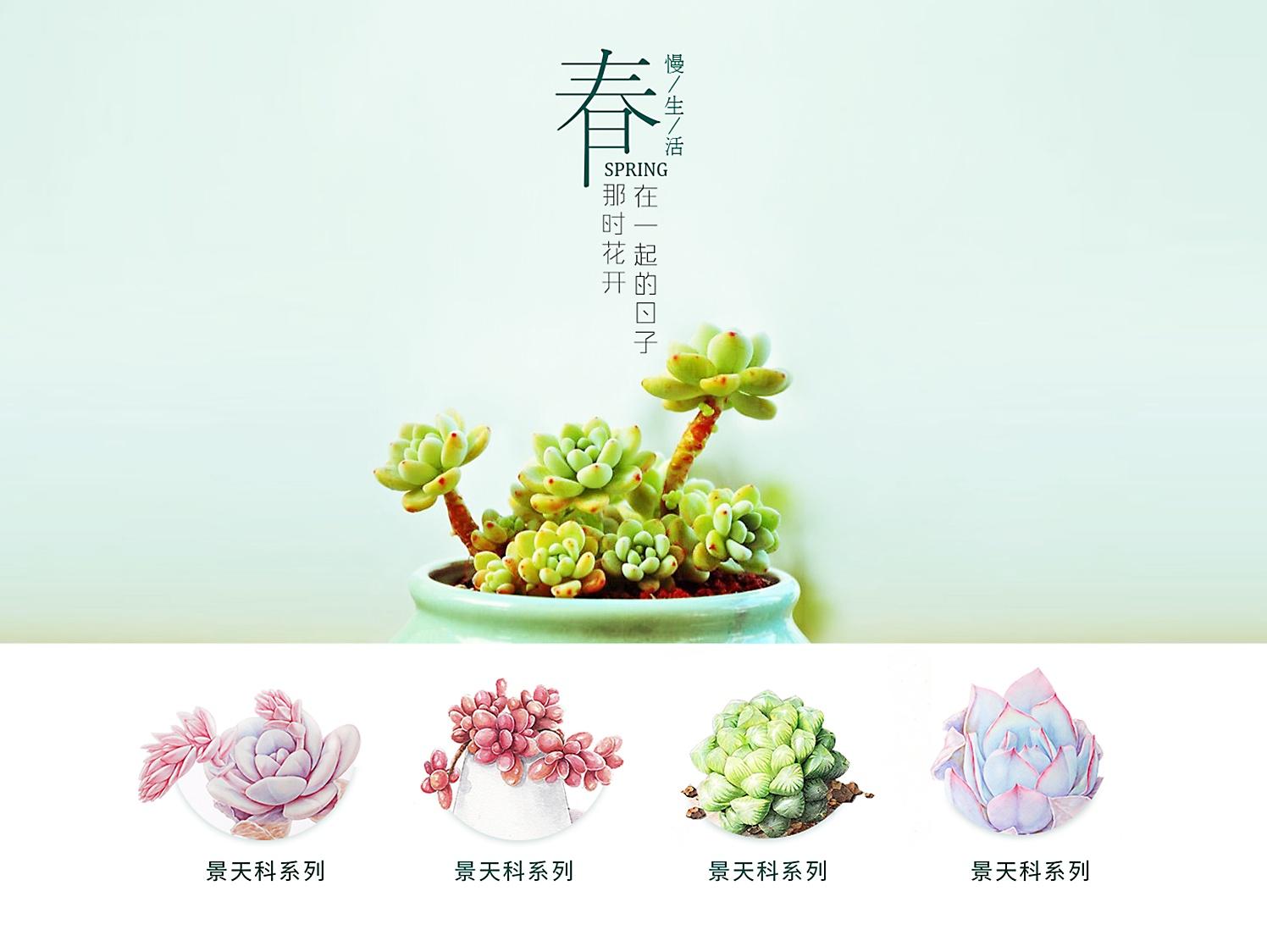 绿植海报设计图片手绘