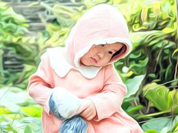 油画小女孩