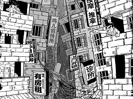 """""""绘生活""""黑白手绘系列插画之南宁篇"""