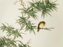 竹上雀――新彩瓷绘盘