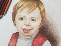 彩铅儿童肖像画-生日礼物