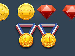 游戏 质感 ui界面 奖牌金币钻石 临摹