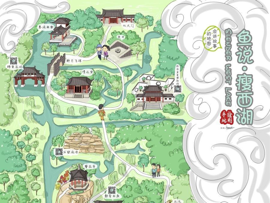 扬州瘦西湖景区手绘地图图片