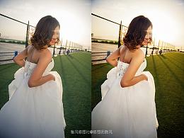 夕阳婚纱调色