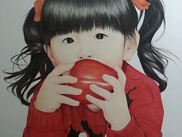 吃苹果的小女孩