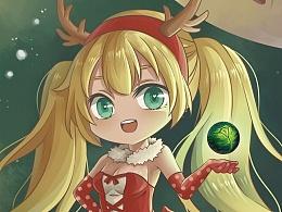 【许小瞳插画】圣诞小贺图一枚~