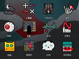 恐怖主题 手机UI ICON 图标设计