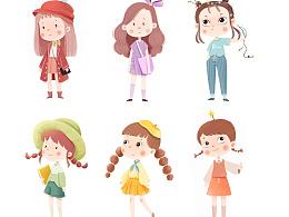 儿童插画|色环女孩系列
