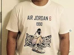《DREAM GIRL—AIR JORDAN》系列插画创作及艺术衍生产品展示【三:运动T恤衫(2)】