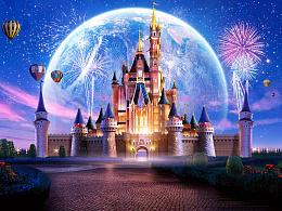 《迪士尼城堡》Matte Painting数字绘景动画