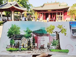 城市速写-黄埔-南海神庙-南湾水乡-画画写生