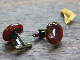 原创设计自然原石系列Cufflink 深红色玛瑙法式衬衣袖扣