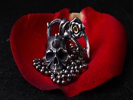 玫瑰骷髅吊坠情人节礼物