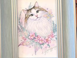 手绘喵星人——挪威森林猫
