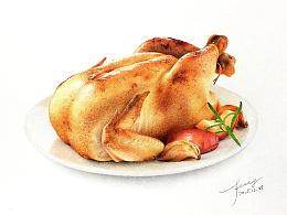 彩铅插画—烤鸡