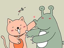 【粉红猫和小怪兽】