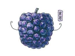 水果黑面膜插画