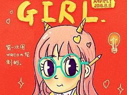 插画: Beauty Girl & Cute Monster