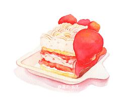 水彩手绘—过生日画一块我吃的百利甜送给大家,嘻嘻嘻(*^__^*)
