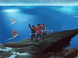 海盗故事插画,好久没动笔手略生