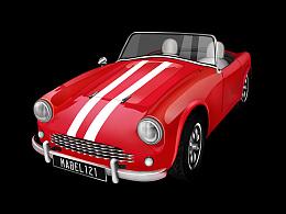【超写实】红色复古轿车